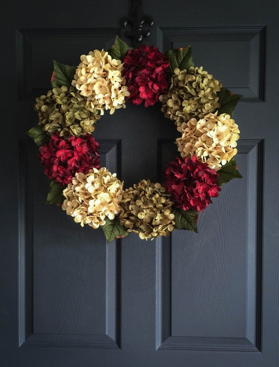 Wunderschöne Hortensie Kranz | Kränze | Tür-Kranz | Fallen Dekor | Im freien Kränze | Saisonale Kränze | Rote Tür-Kranz | Housewarming…
