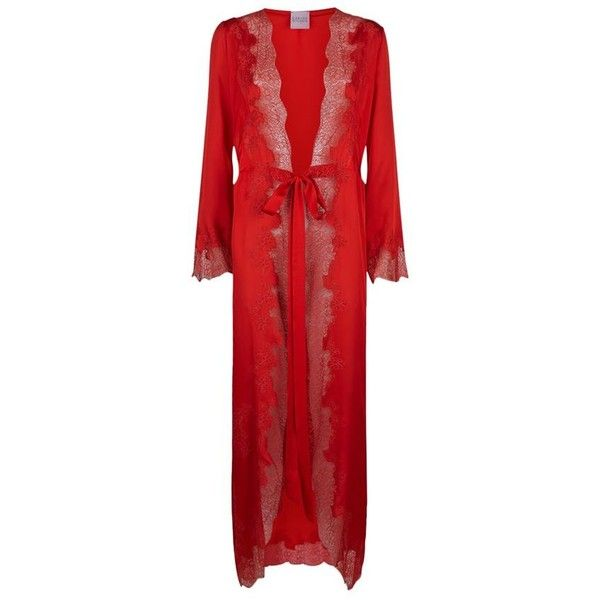 Carine Gilson Long Silk and Lace Robe ($1,870) ❤ liked on Polyvore ...