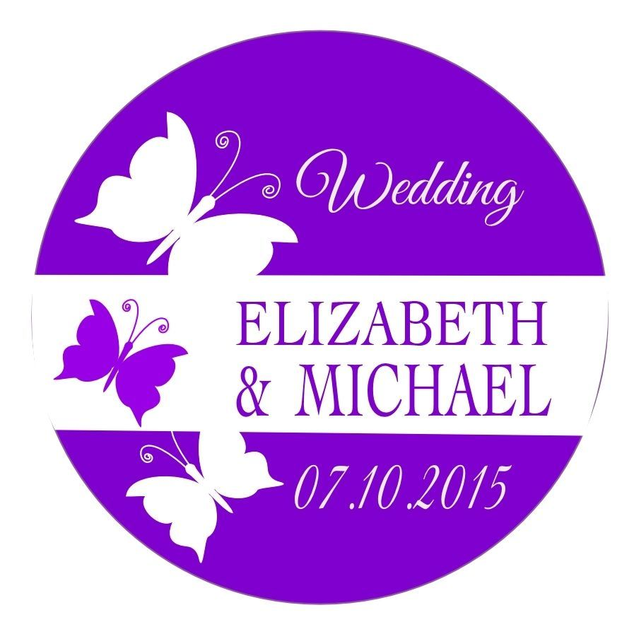 Personalised Wedding Sticker Seal Labels ~3 BUTTERFLY DESIGN~ ANY COLOUR