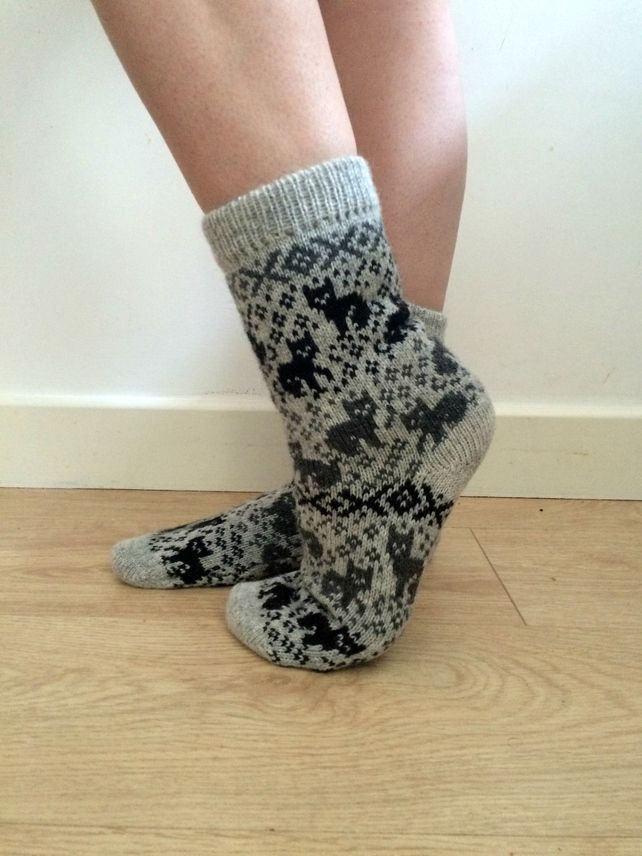 Light Grey Wool Knitted Socks with Cats Cat Pattern Unique Fun ...