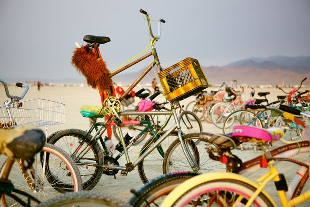 "Burning Man: Bikes | by VICTOR JEFFREYS II - Black Rock Desert, Nev., is 100 miles north of Reno, sits 3,900 feet above sea level, is managed by the U.S. Department of the Interior, and for the past 23 years has played host to Burning Man, ""an annual experiment in temporary community dedicated to radical self-expression and radical self-reliance. That ""temporary community"" is called Black Rock City (BRC). More bike pics at link"