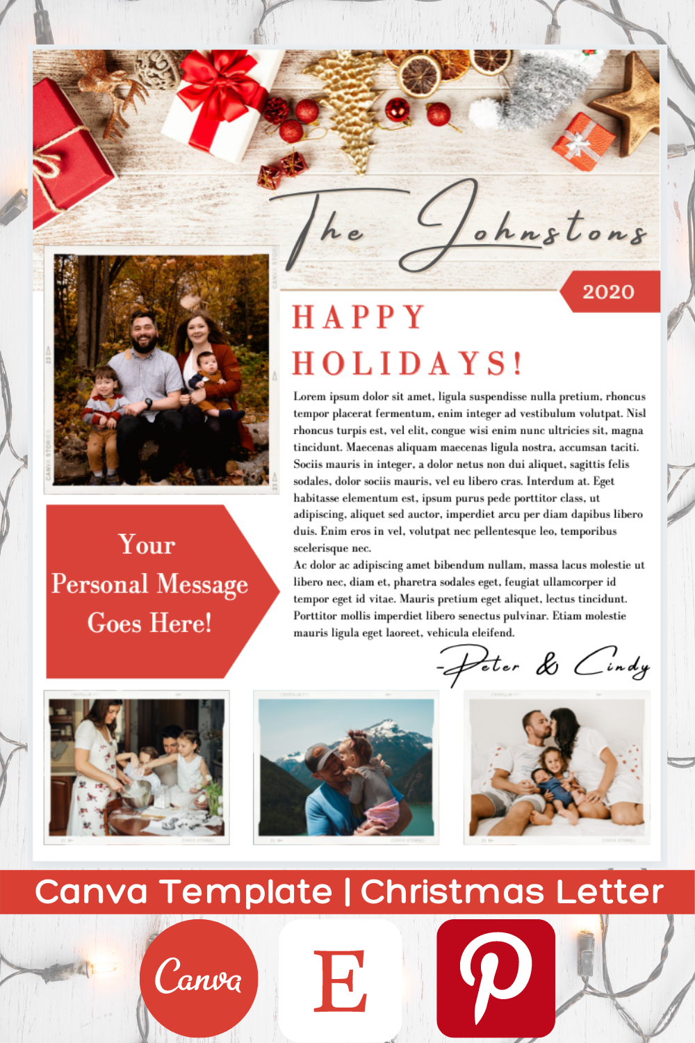 Holiday Family Newsletter Year In Review Christmas Card Etsy Christmas Photo Cards Holiday Lettering Diy Christmas Photoshoot