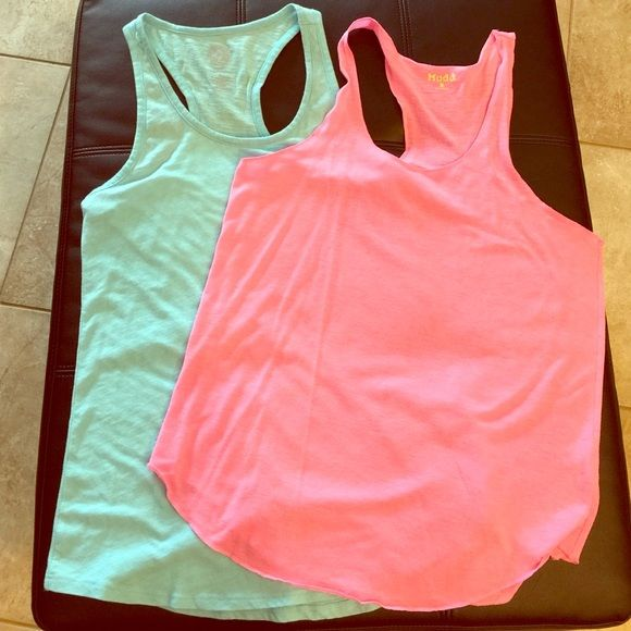 Bright tank top bundle Size small / medium. Bright neon pink and baby blue. Perfect for gym, running or lounging. Gently used. Tops Tank Tops