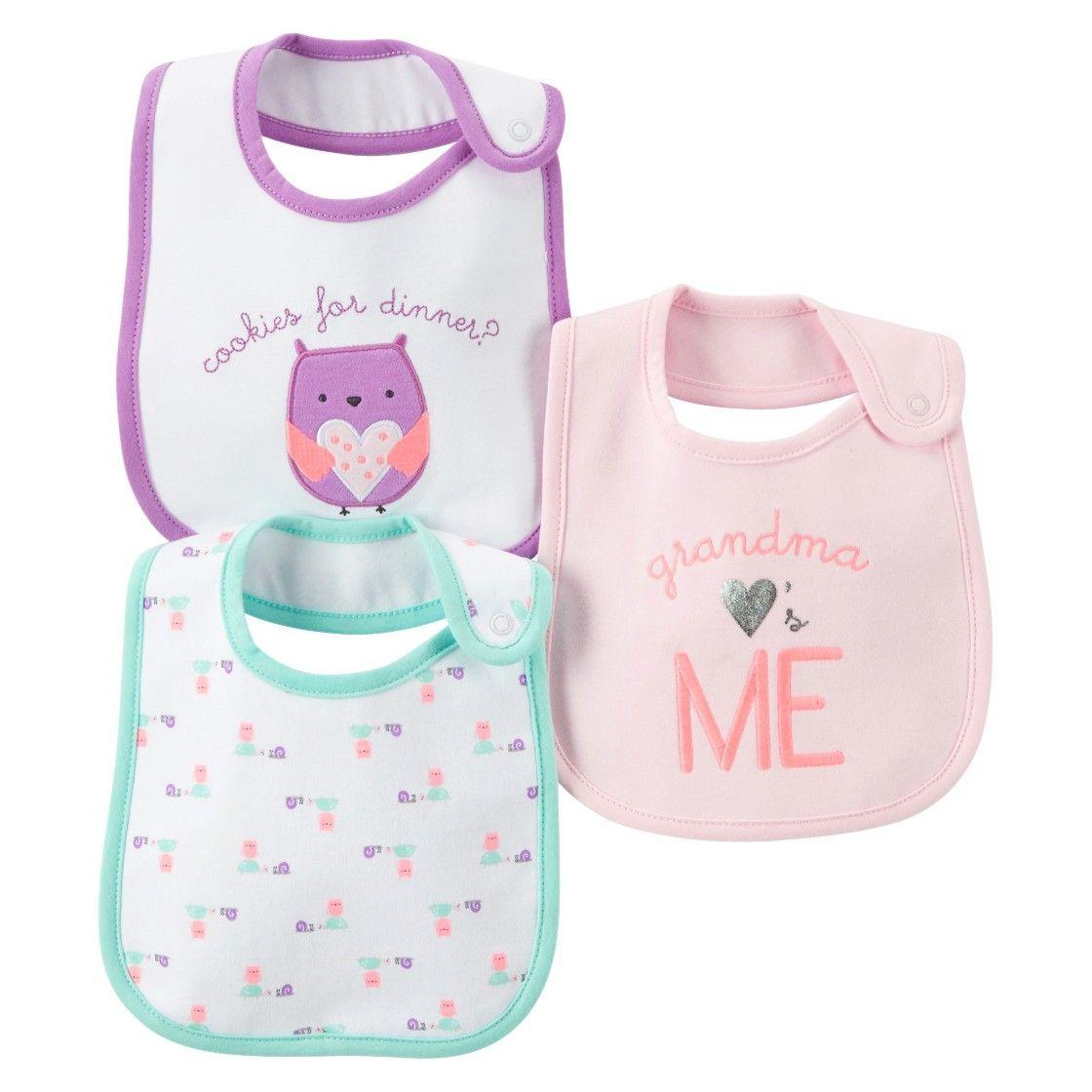 27d8fe1d09 Just One You Made by Carter s  Newborn Girls  3 Pack Owl Bib Set ...