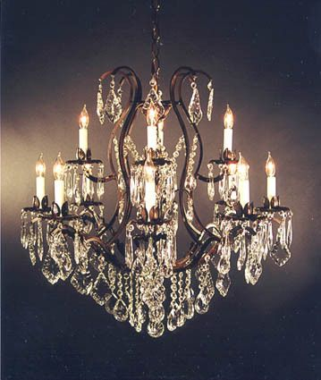 Details About Wrought Iron Crystal Chandelier Lighting Country