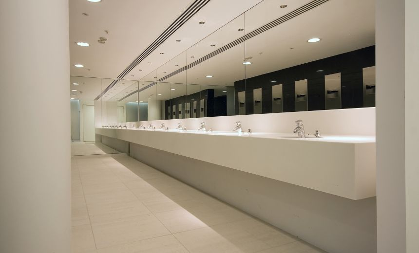 Selection of reception desks and vanity troughs in office for Bathroom design ltd