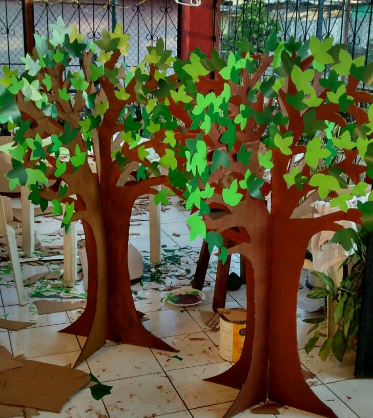 Arboles de carton papelitos Pinterest Craft Decoration and School