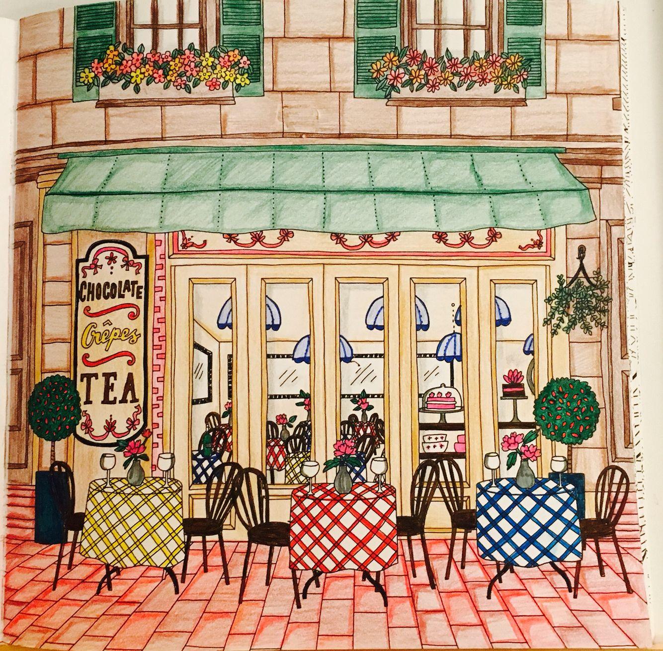 Cafe Colored By Cheryl Krumm Debbie Macomber Coloring Book Debbie Macomber Coloring Books