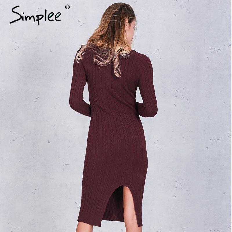 0347b393c75c Simplee Elegant split knitted bodycon dress women Black long sleeve sexy  party dresses Autumn winter warm