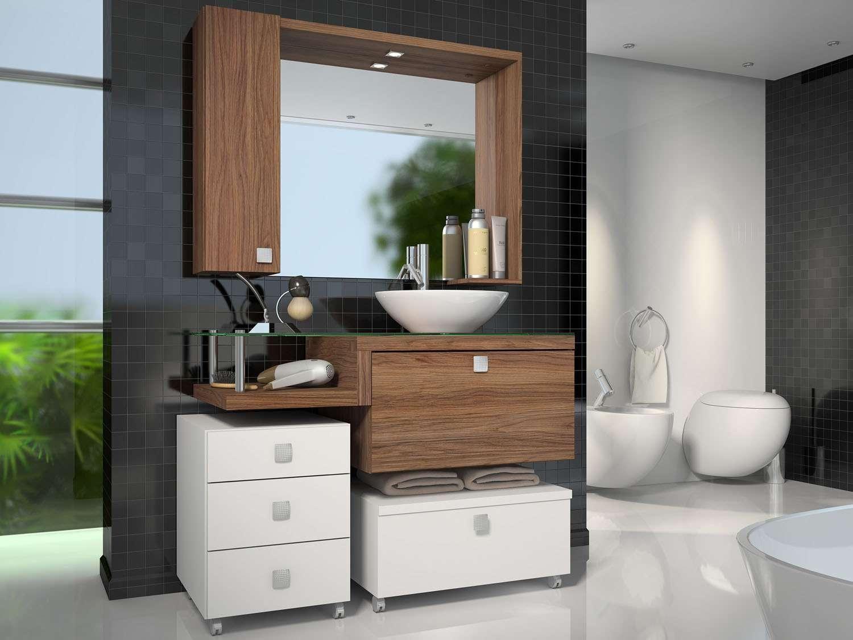 Porta Badezimmer ~ Gabinete para banheiro com espelho portas gaveta celta