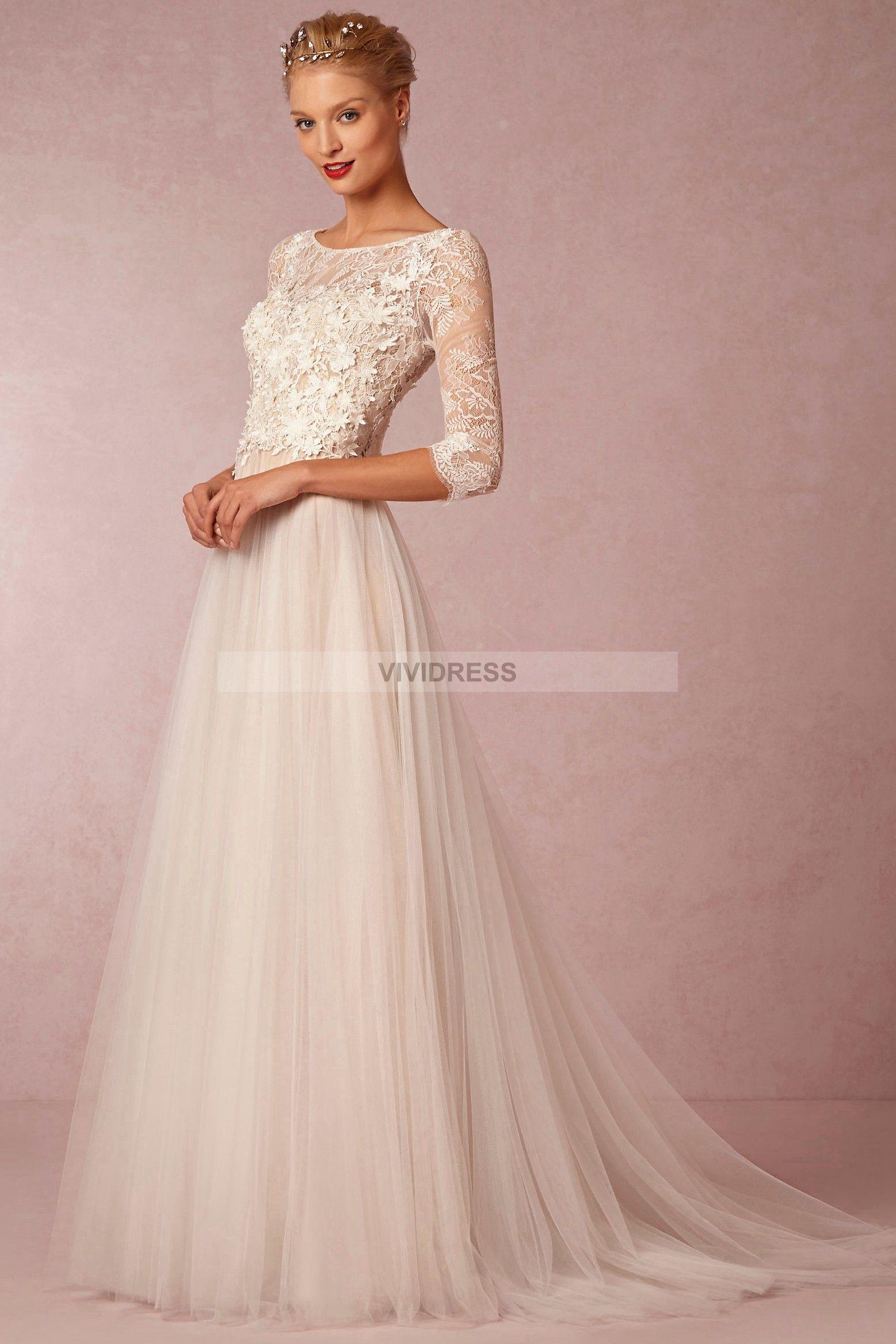3 4 sleeve lace wedding dress  Aline Scoop Court Train Length Sleeve Lace Wedding Dresses UK