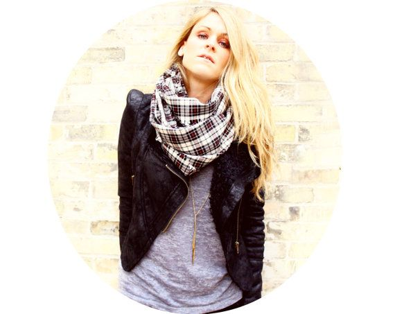 Plaid Infinity Scarf  circle scarf by BlueBirdsFlyBoutique on Etsy. , via Etsy. LOVE the jacket.