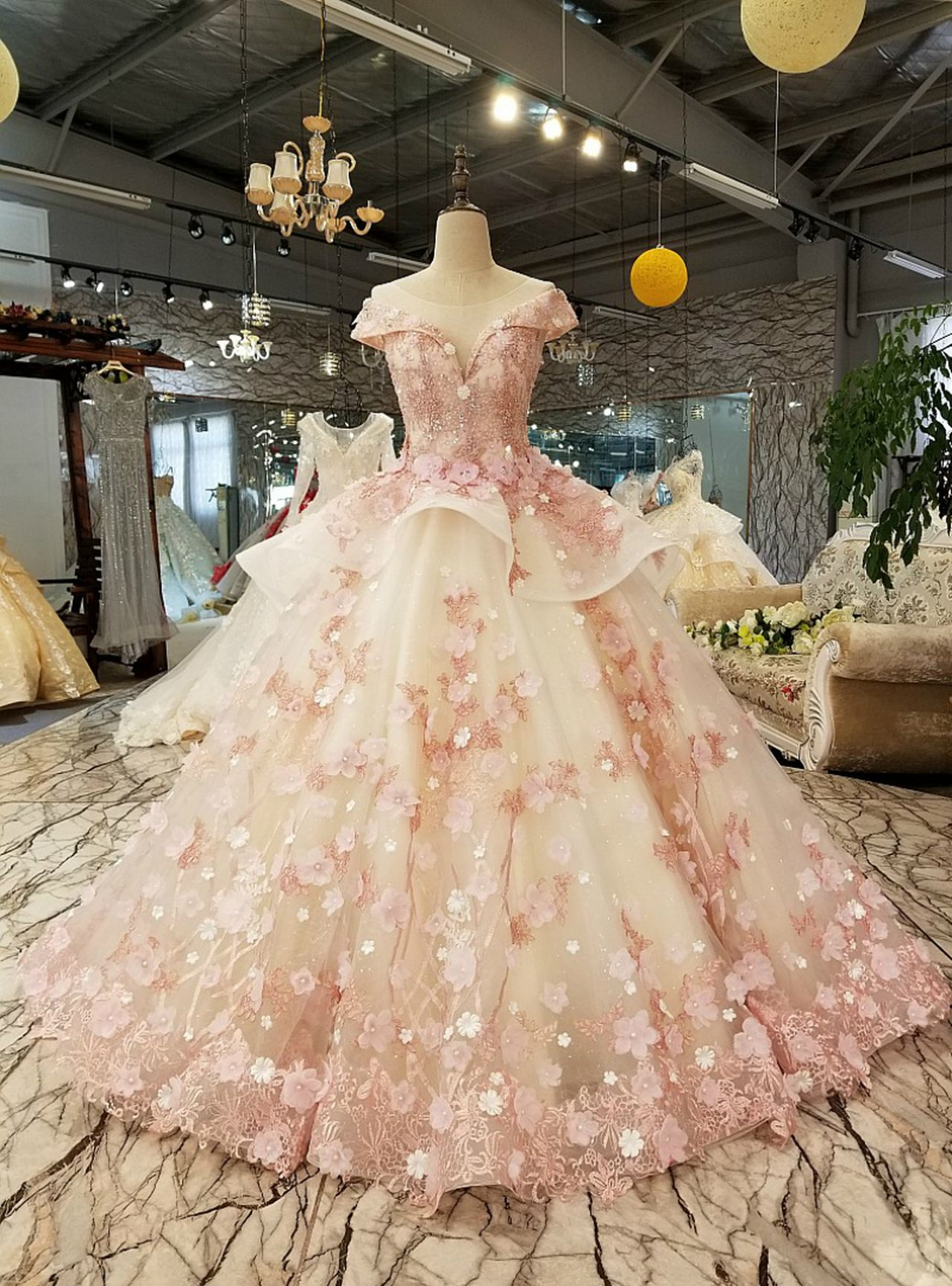 white tulle pink flower ball gown cap sleeve train wedding