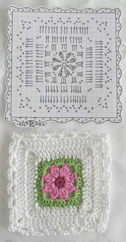Granny a crochet con patrón. | colchas | Pinterest | Patrones ...