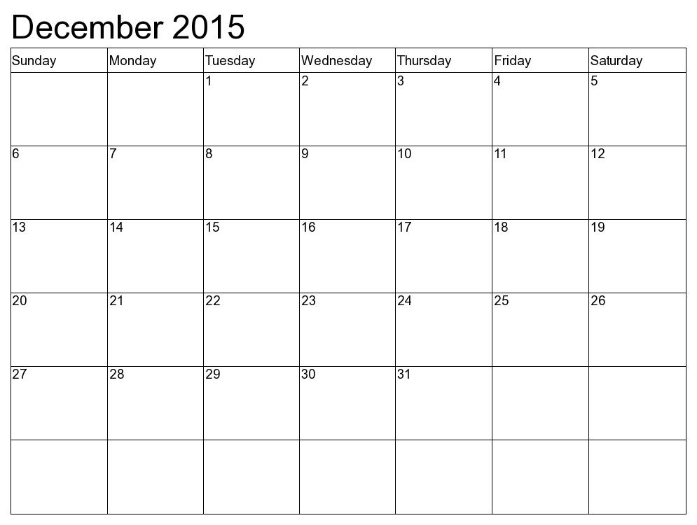 Printable December 2015 Calendar Calendar Word Calendar 2015 Printable Calendar
