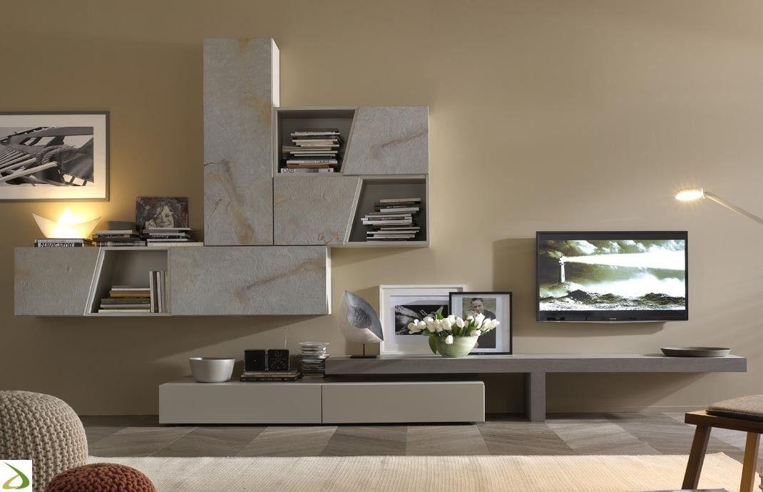Mobile soggiorno di design con pensili in pietra