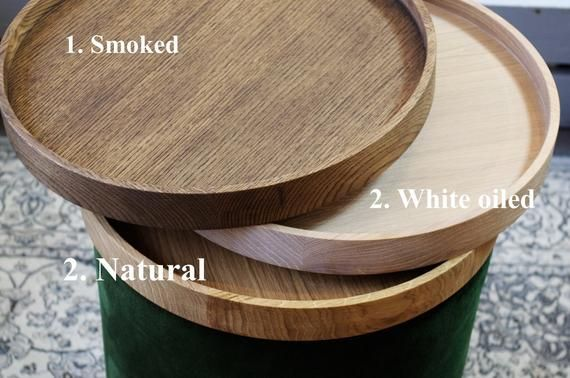 Incredible Set Of Two Big Round Pouf And Wooden Oak Tray Velvet Spiritservingveterans Wood Chair Design Ideas Spiritservingveteransorg