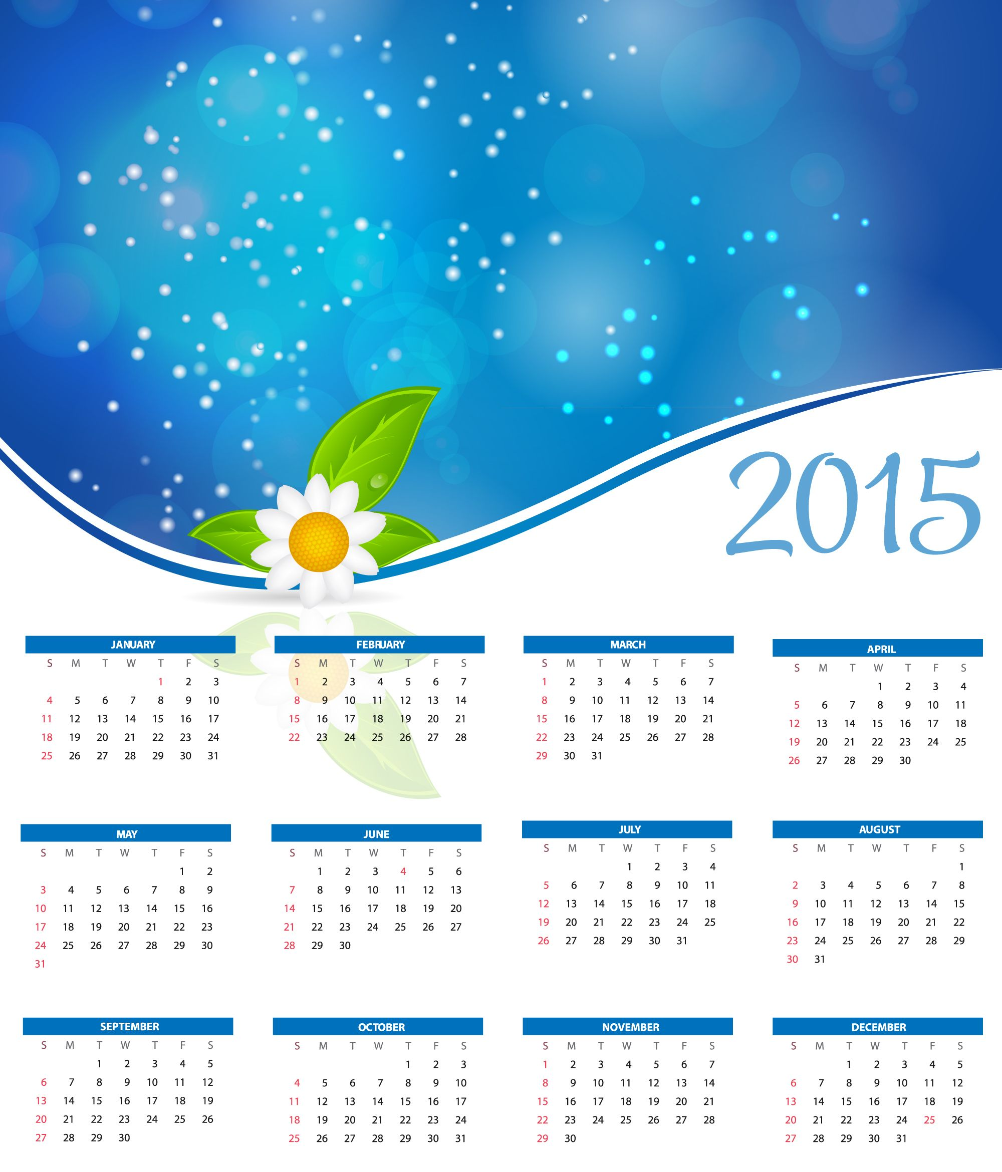 Awesome Calendar 2015 Vector   Free Large Images