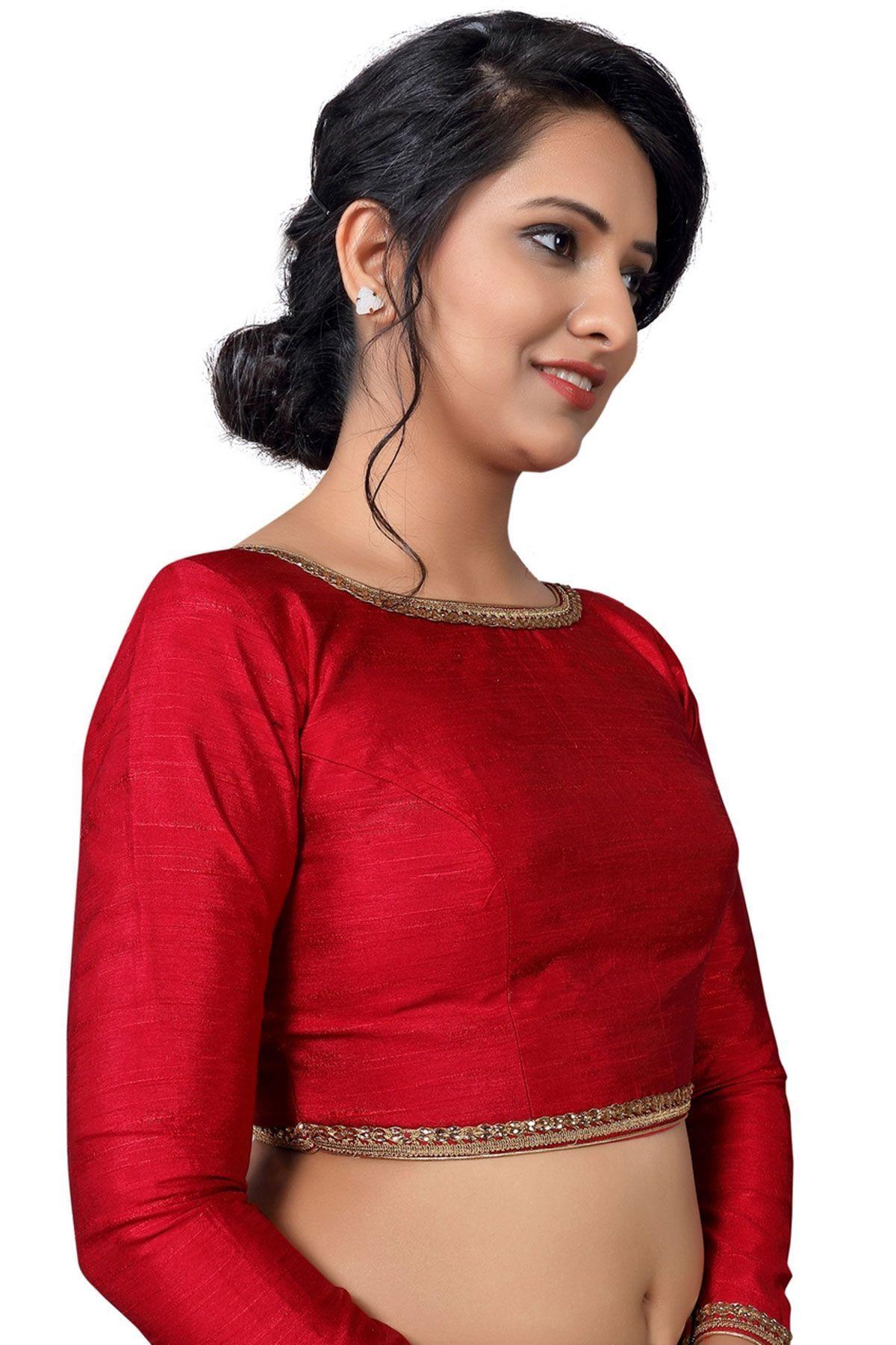 70438c43c3b2a7 Maroon Raw Silk Resham Embroidered Designer Blouse-BL1817