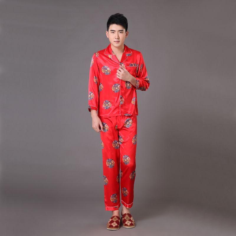 Novelty Red Chinese Style Men s Sleepwear Long Sleeve Pajamas Suit Robe  Gown Print Dragon Pyjamas Set S M L XL XXL XXXL MP059 56ed8e164