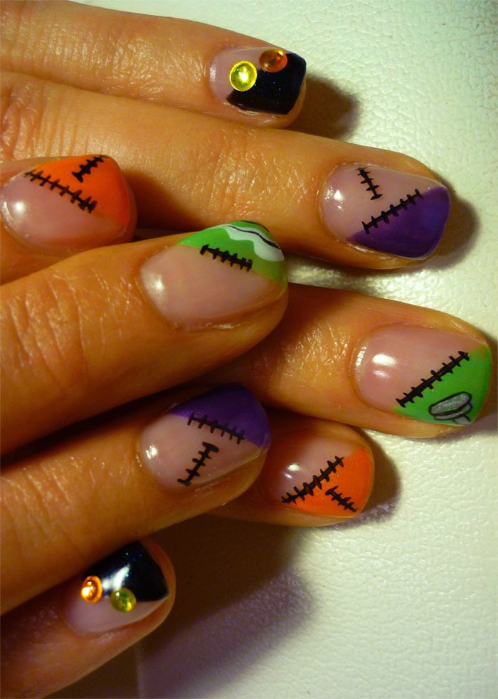 Stitches and bolts. Nails for halloween | Fancy nail art ...