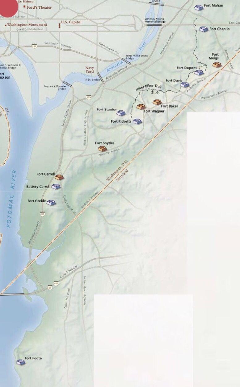 Third Map Showing Forts And Batteries Located Around Washington DC - Washington dc map civil war