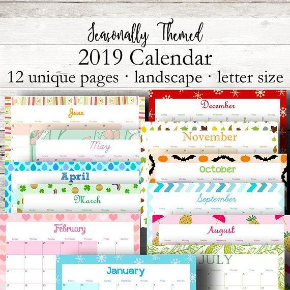 Monthly Printable Calendar 2019 Monthly Planner 2019 Wall Calendar