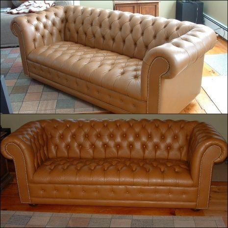 Camel Color Leather Sofa