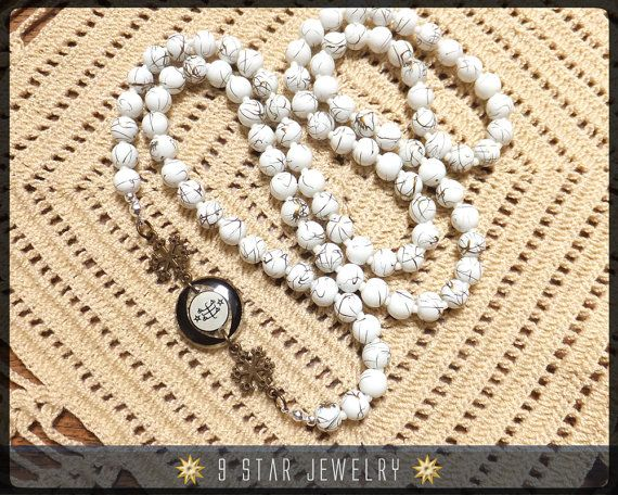 Snow Flakes Bahai Prayer Beads With Bahai Ring Stone Symbol