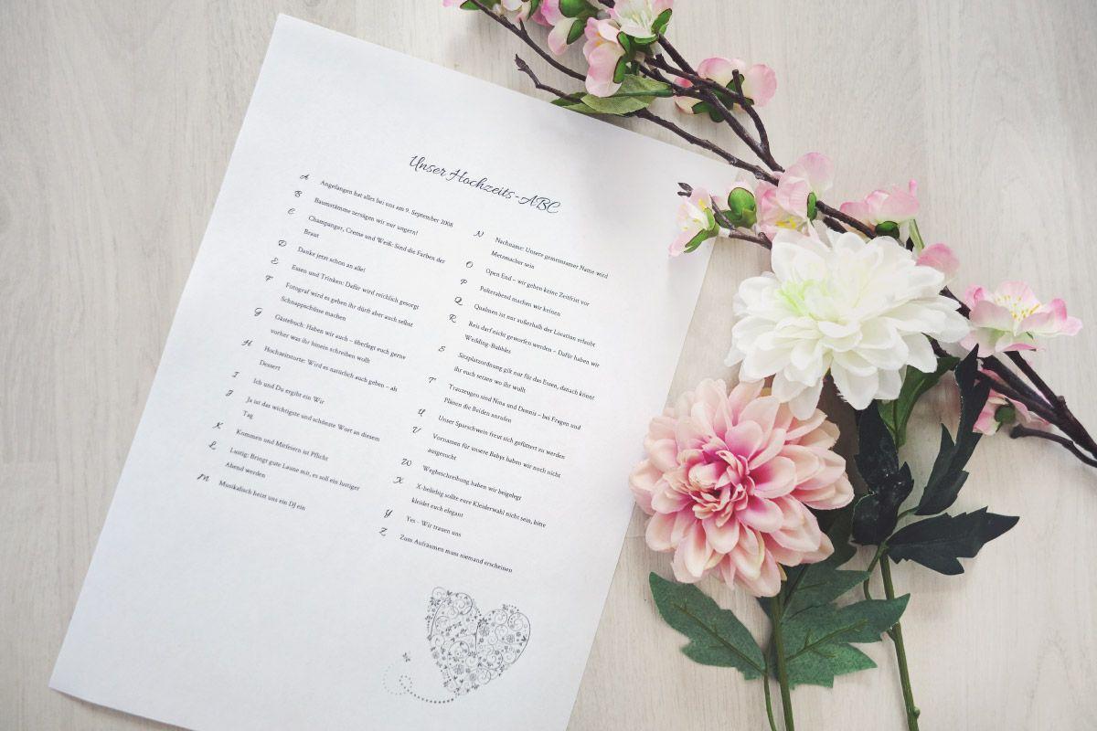 Hochzeits Abc Fur Die Hochzeitsgaste Vorlagen Infos Hochzeits Abc Papeterie Hochzeit Diy Hochzeit Planen