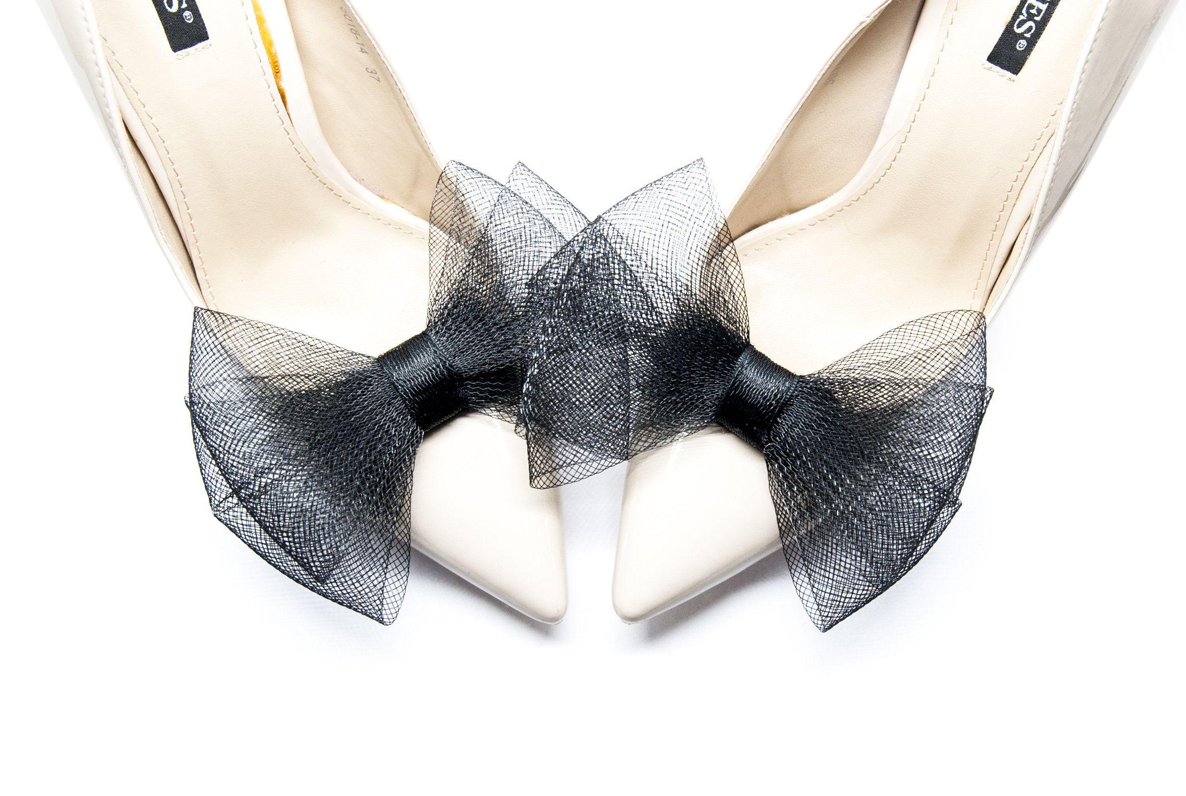 Czarne Kokardy Z Krynoliny Klipsy Do Butow Mififi Etsy Shoe Clips Bow Shoes Bridal Shoes