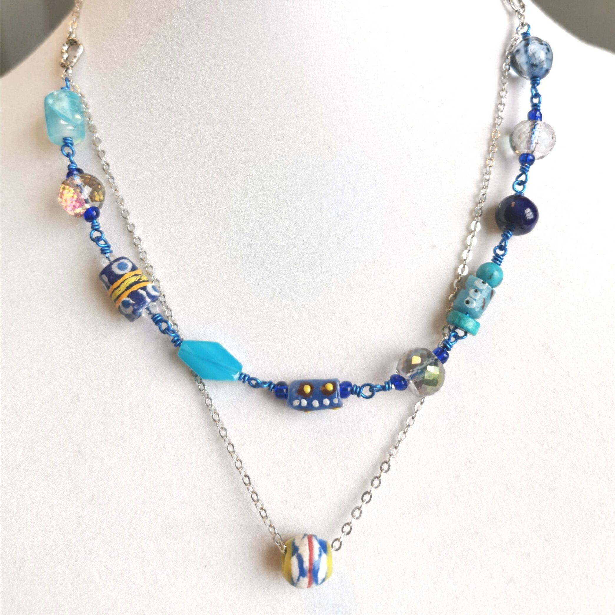 20 inch layered necklace one of a kind unique beads