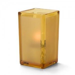 amber frosted candle holder