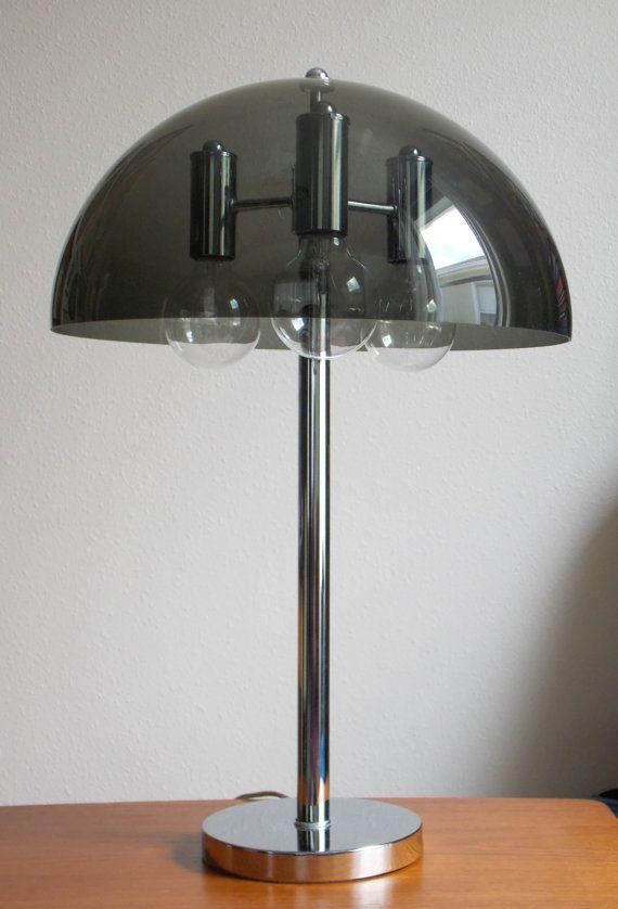 Mid Century Modern Chrome Lamp Desk Lamp Table Lamp 1970s Smoked Acrylic  Dome Lighting