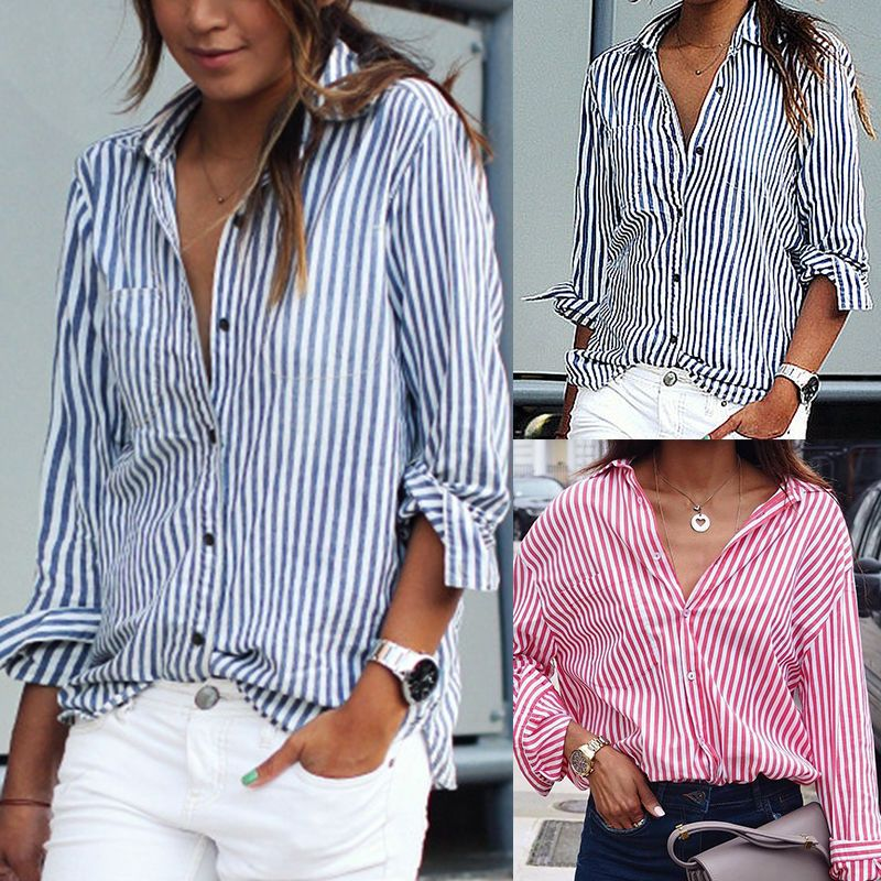 caf81e01695 Women's Long Sleeve Striped Shirt Button Down Casual Loose Blouse Tops T- shirt   Clothing, Shoes & Accessories, Women's Clothing, Tops   eBay!