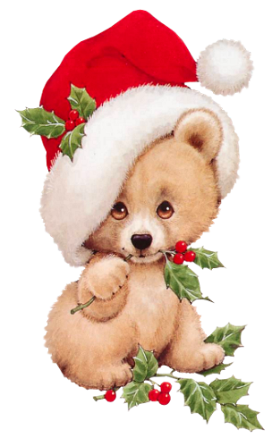 Christmas Bear with Mistletoe Transparent PNG Clipart | Its ...
