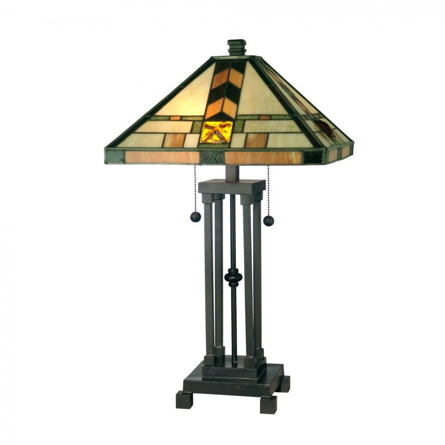 Dale Tiffany Lamps Mission Two Light Table Lamp in Dark Antique Bronze - TT10035