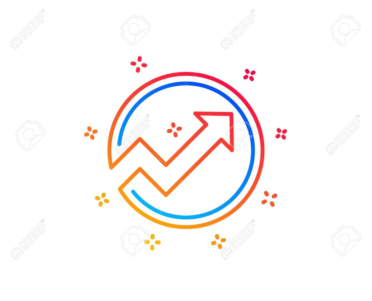 Chart Line Icon Report Graph Or Sales Growth Sign In Circle