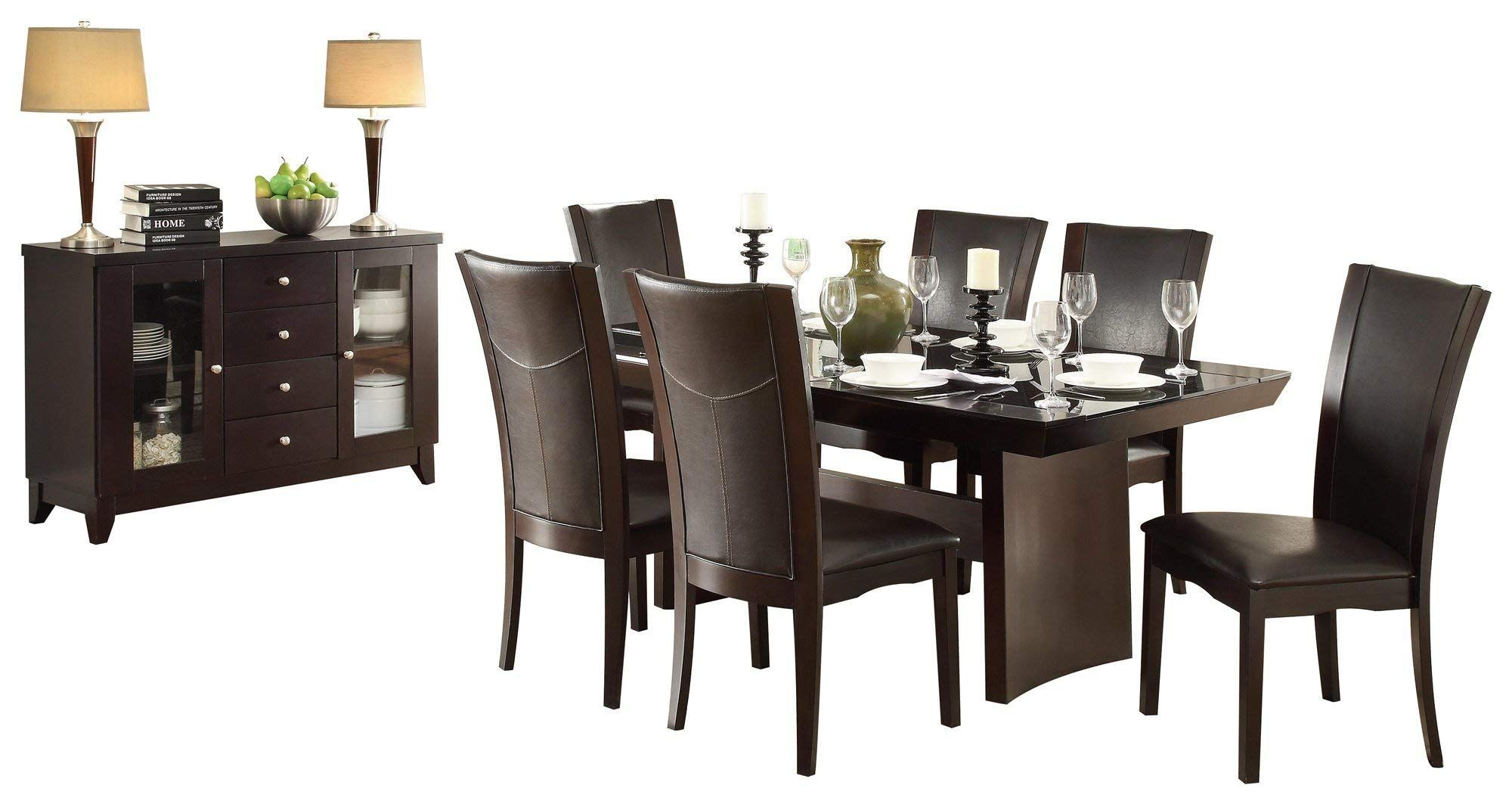 Denstein Modern 8PC Dining Set 72 inch Glass Top Table 6 ...
