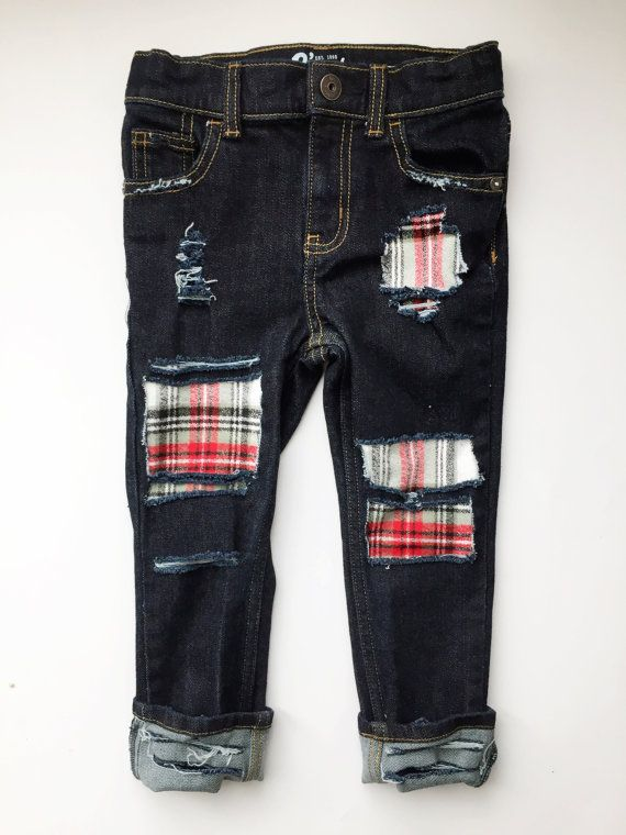 ee2f0f9aa Kids Distressed Denim with Flannel Plaid Patches // Grandpa's Flannel Jeans  // Baby Skinny Jeans // Baby/Toddler Christmas Outfit