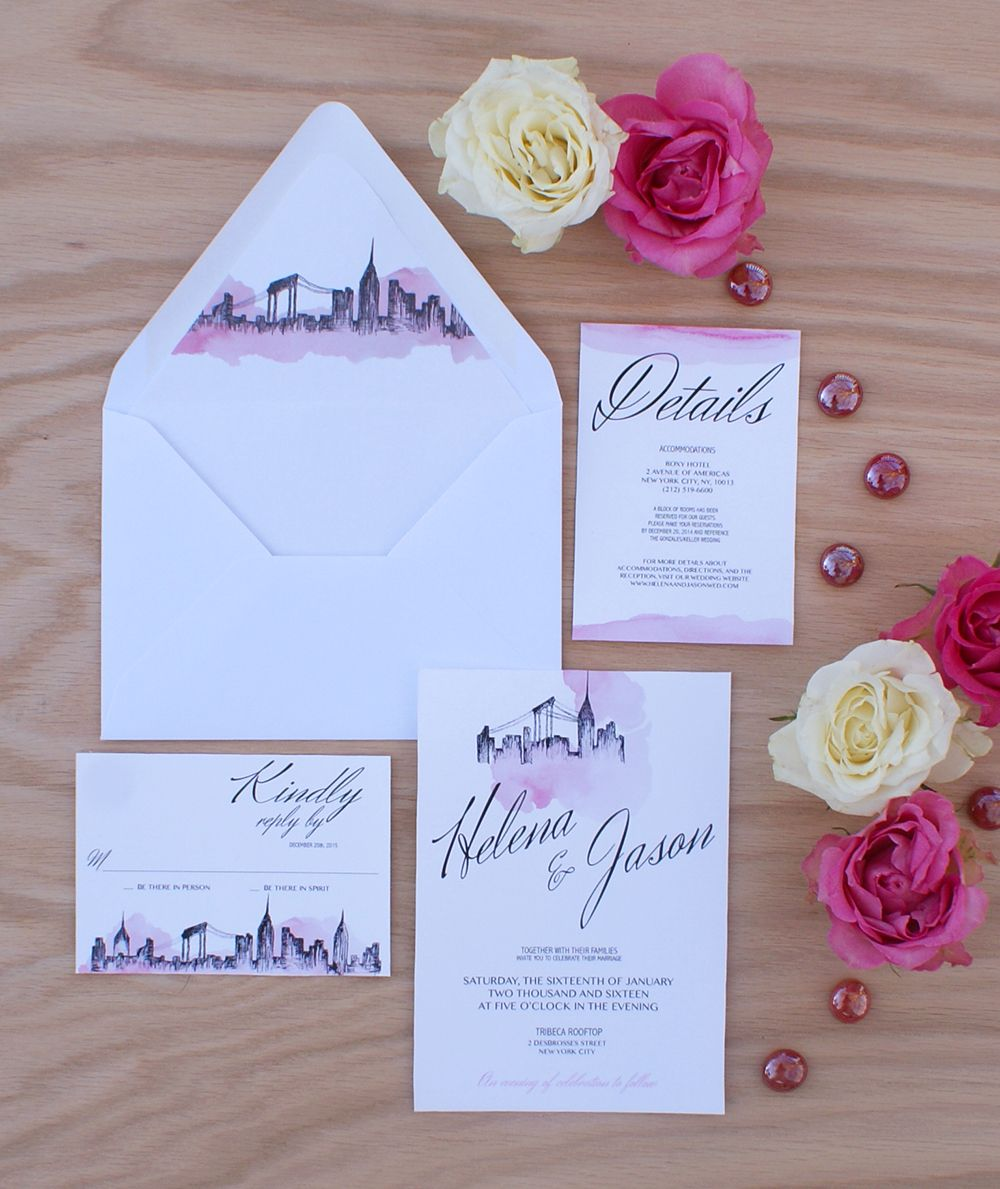 New York City Wedding Invitation Handpainted With Watercolors City Wedding Invitations Wedding Party Invites Discount Wedding Invitations