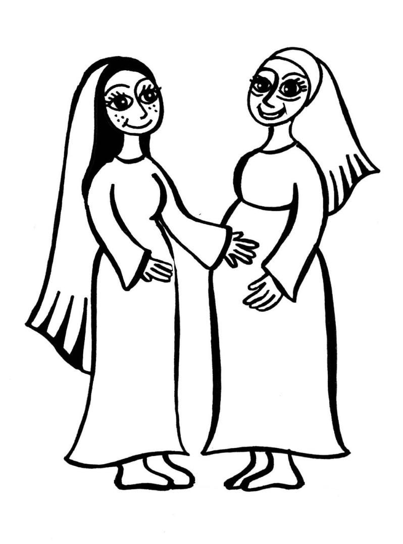Mary And Elizabeth Baby Jesus And John The Baptist Coloring Page