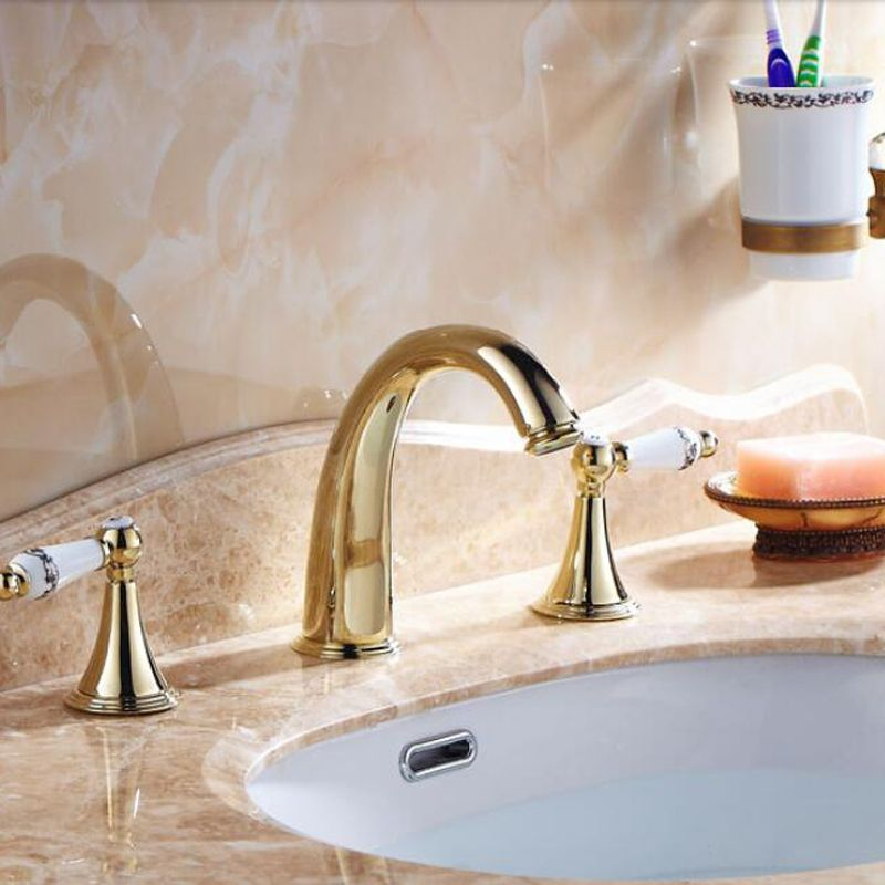 Wholesale And Retail Golden Brass Bathroom Faucet Widespread Vanity Sink  Mixer Tap Ceramic Handles Deck Mounted
