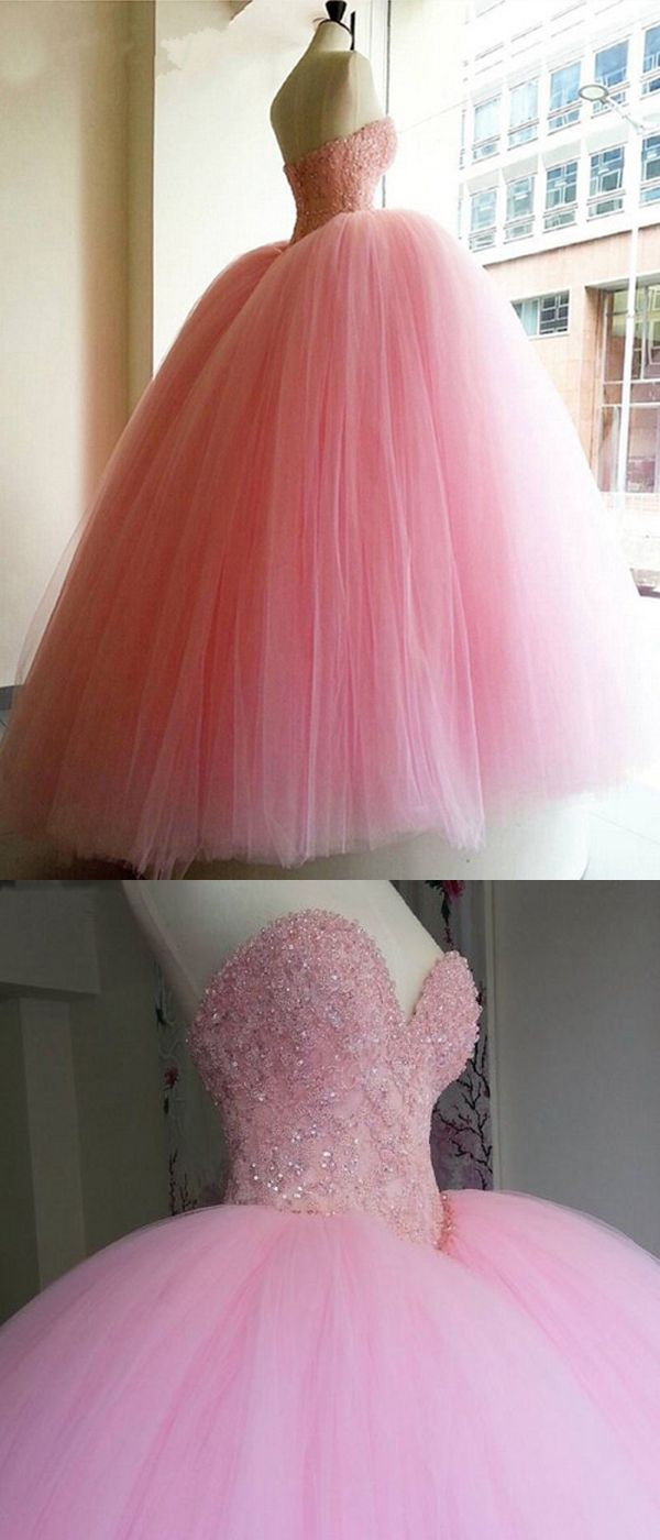 Luxury Wedding Dresses Ball Gown Sweep/Brush Train Pink Bridal Gown ...