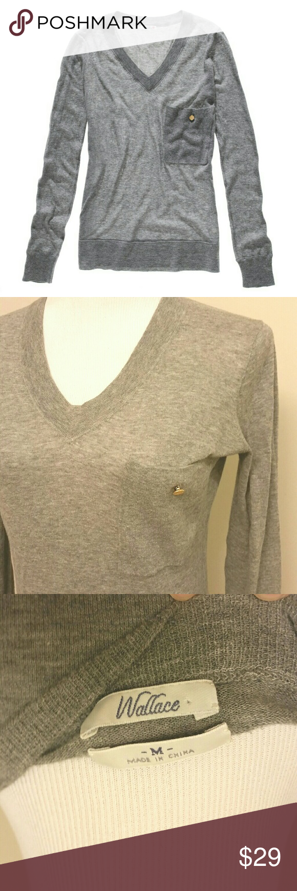 "Madewell Academy Sweater M Madewell Academy Sweater in heather grey. Whisper thin and perfectly cut, this v neck is perfection for layering. Breast pocket with gold button detail. Bust measures 20"" laying flat. EUC, with only the slightest bit of wear under the arms as shown in the last picture. Madewell Sweaters V-Necks"
