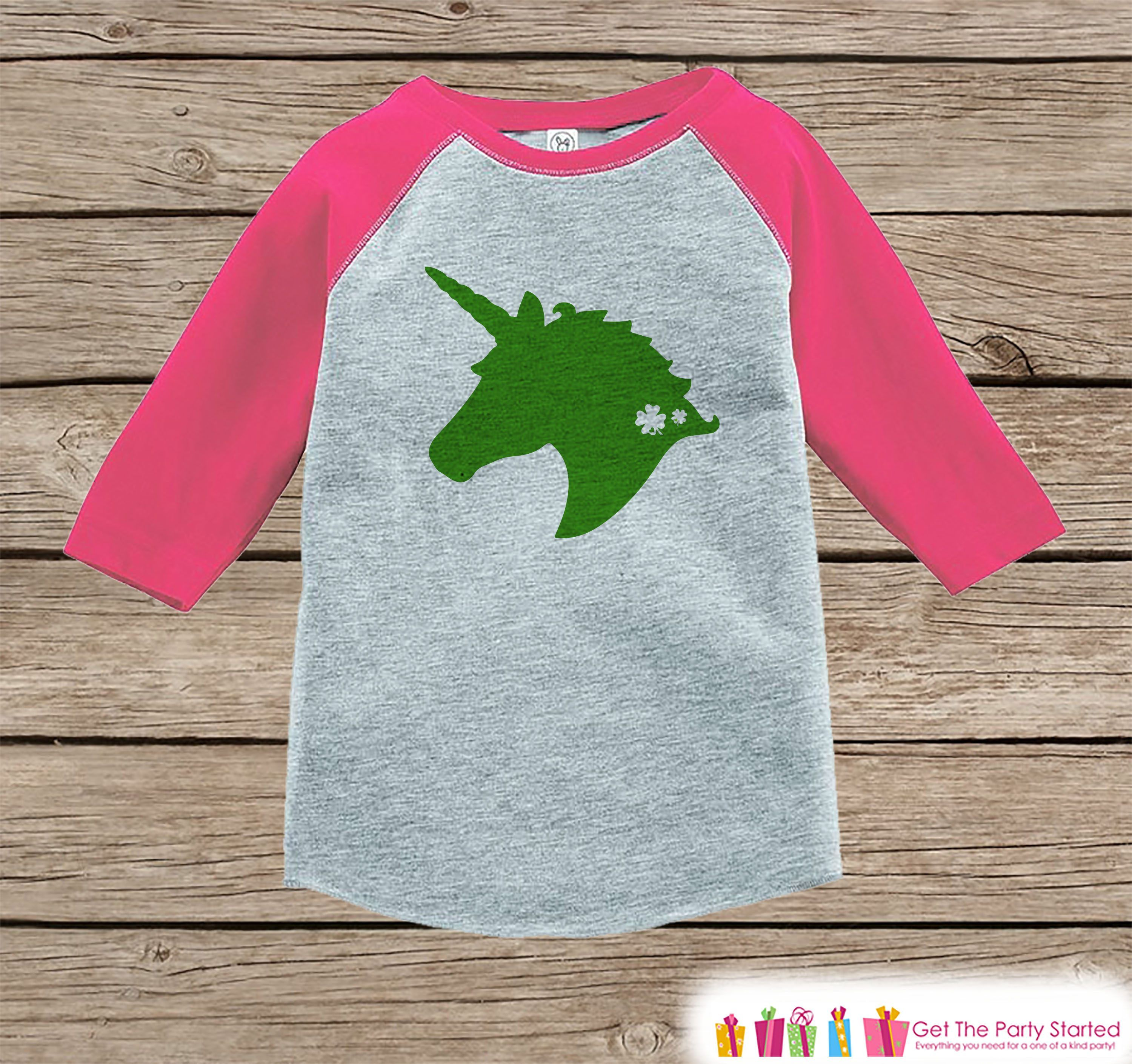 7 ate 9 Apparel Girls Unicorn Birthday Pink Raglan Onepiece