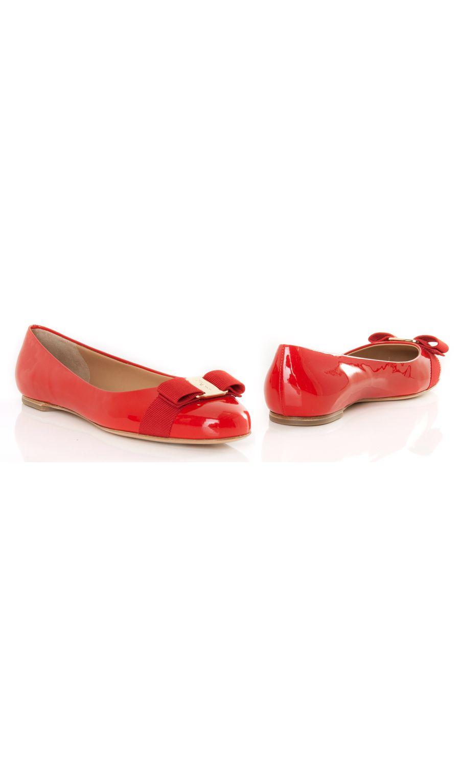 Salvatore Ferragamo Red Flats 10mm High Heel, Grosgraiin Strap And Bow, Leather Innersole And Lining, Leather Sole, Gold Coloured Metal Hardware