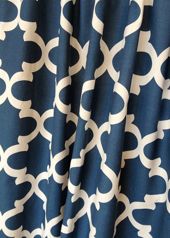 Blue Moroccan Tiles Valance Curtains 50x16 Inches Navy Window Treatments Quatrefoil