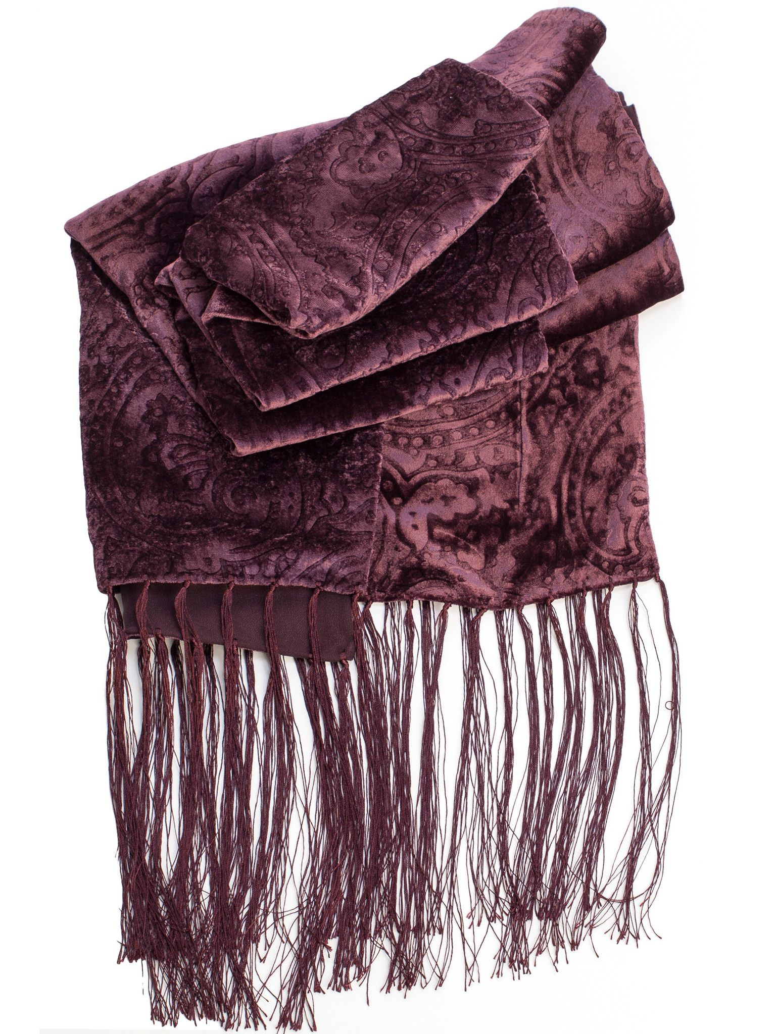 Lined with silk crepe Georgette and finished with a hand knotted fringe, this gorgeous embossed silk velvet evening wrap is sure to turn heads! Pure luxury from Italy. Details - Made in Como, Italy -