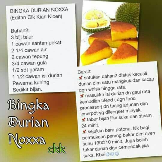 Bingka Durian Pressure Cooker Recipes Recipes Durian